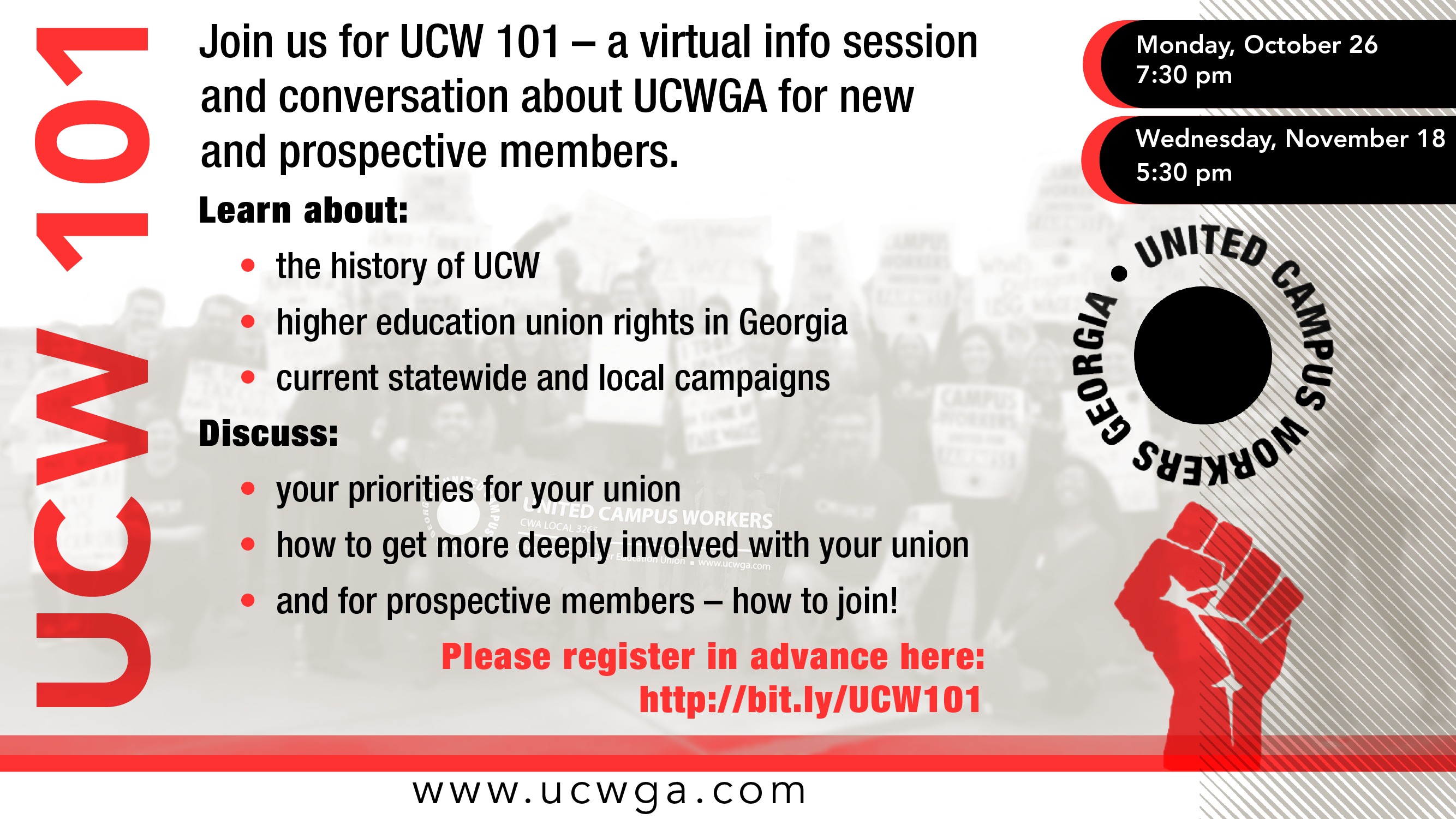 UCW 101 info session flyer