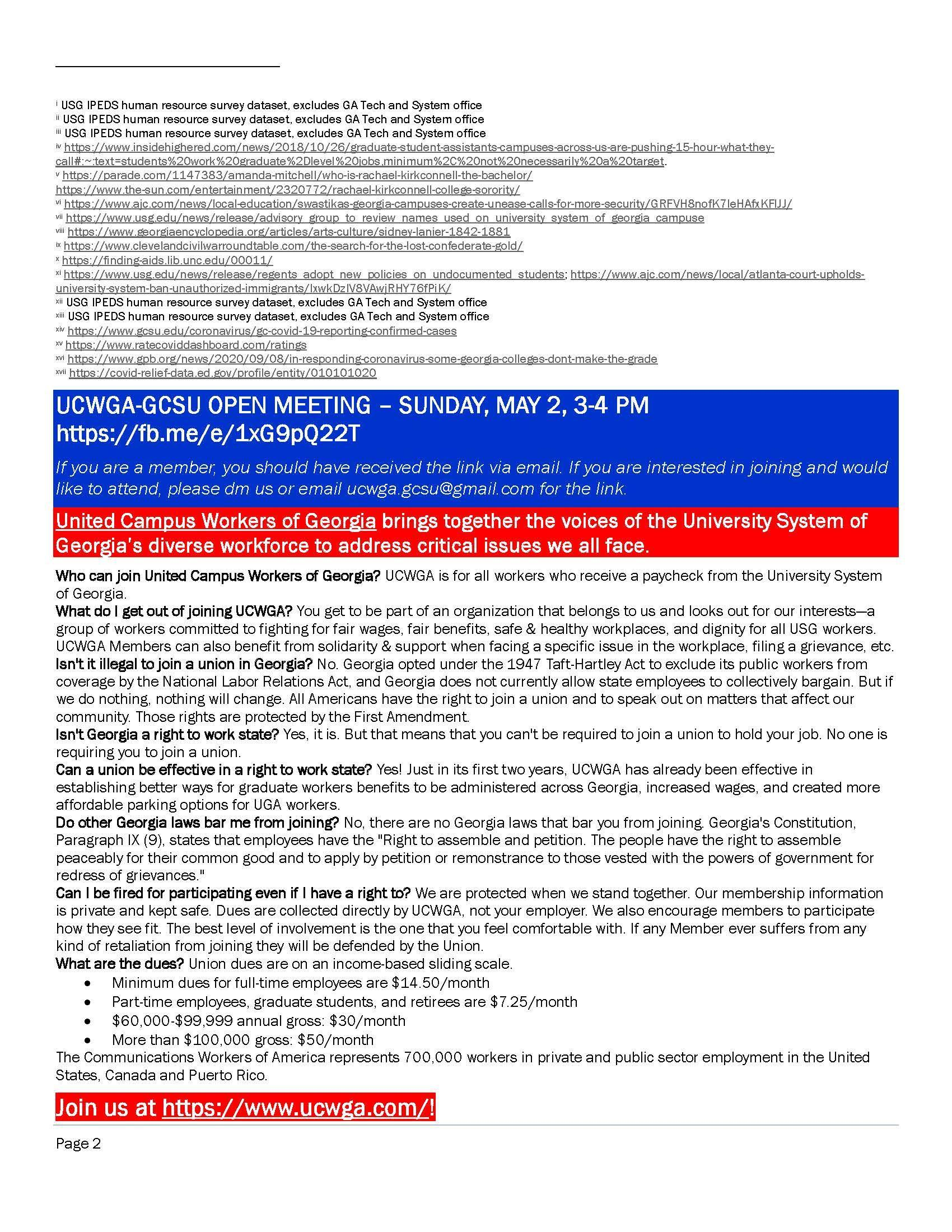 Page of citations for the report card and frequently asked questions about the right to join a union in Georgia.