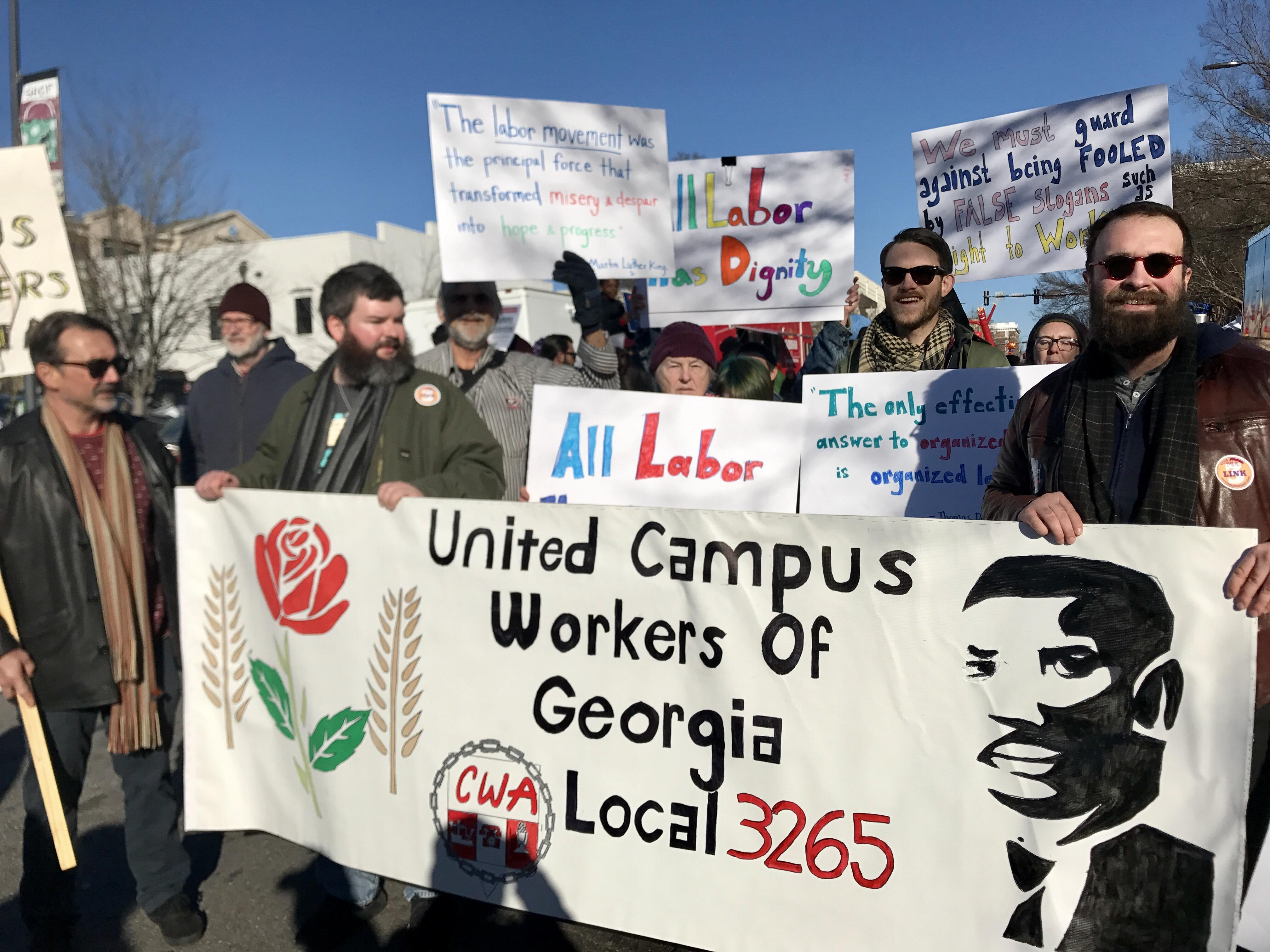 United Campus Workers march in MLK Day parade 2018